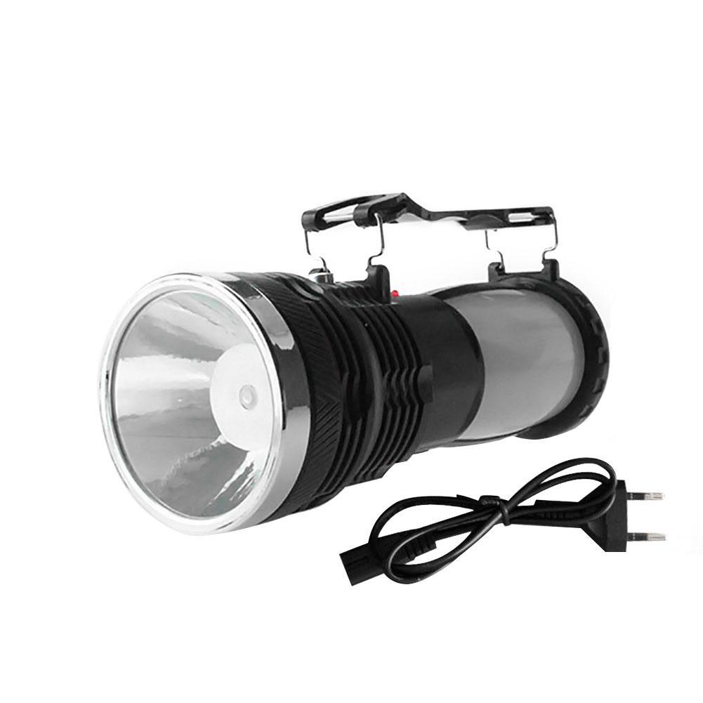 LED Portable Working Lamp Flashlight ZOOM Lighting Lantern EU Plug Rechargeable Solar-powered For Emergency Camping Hiking