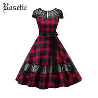 Rosetic Gothic Vintage Plaid Kleid Hohl Backless Patchwork Spitze Bowknot Mode Frauen Sommer Party Elegante Kleid 2019 neue
