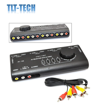 4 in 1 AV Audio Video Signal Switcher S-Video Selector Splitter with RCA Cable for VCD DVD Camera Game Recorder to TV