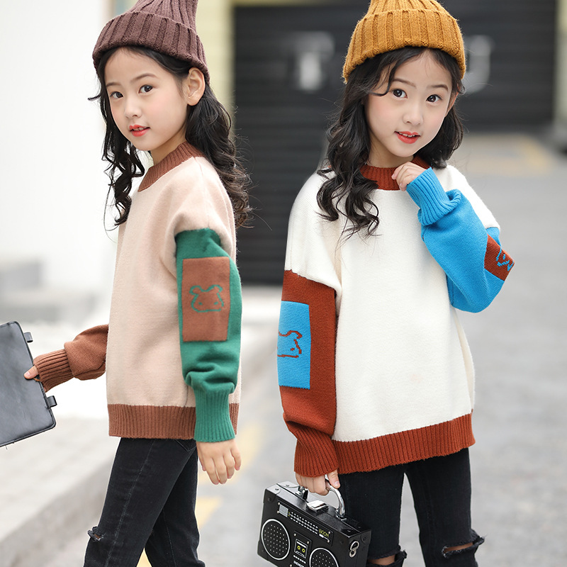 Girl's Sweater Autumn <font><b>Children's</b></font> Patchwork Knitted Pullover Sweaters Toddler Kids <font><b>Winter</b></font> Tops <font><b>Clothes</b></font> <font><b>for</b></font> Girls 6 <font><b>8</b></font> 11 12 <font><b>Years</b></font> image