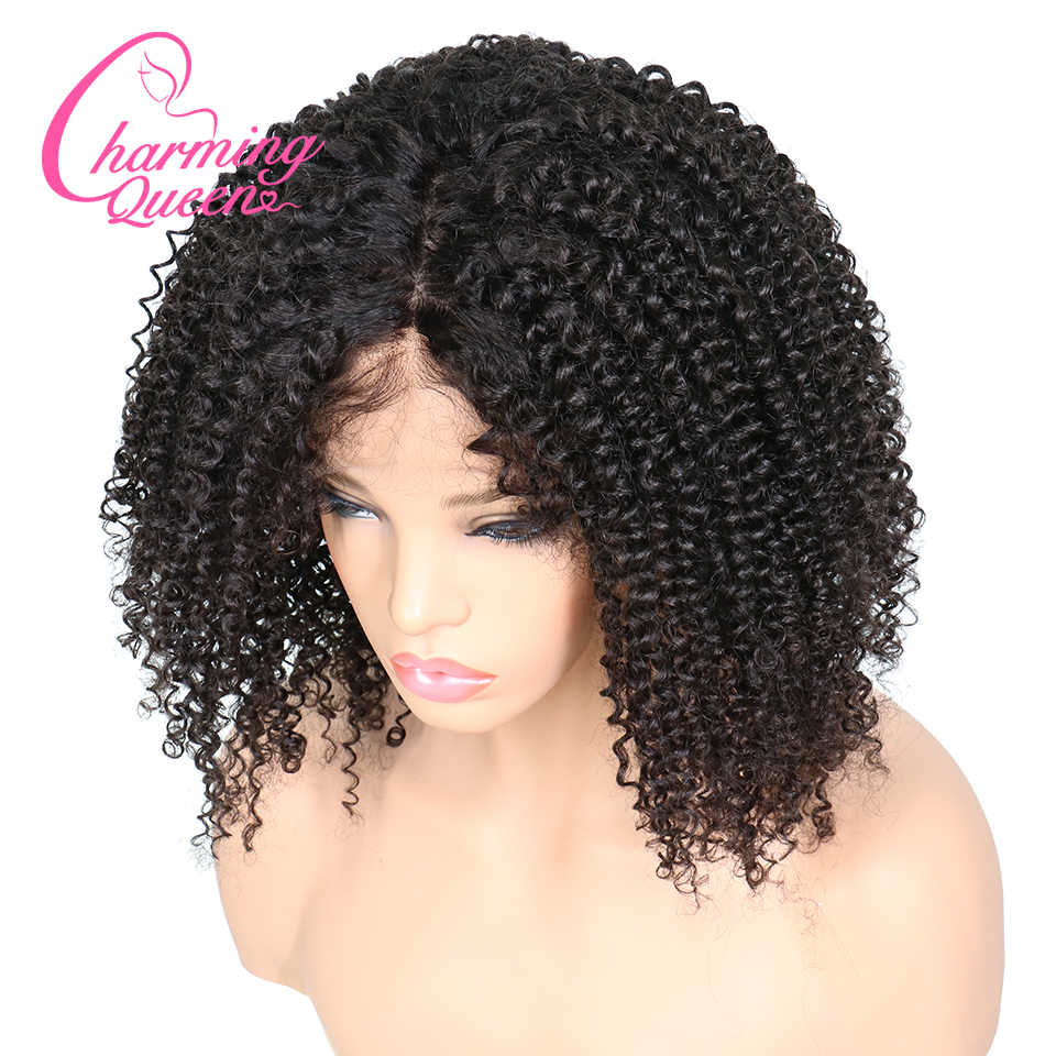 Charming Queen Silk Base Wigs Full Lace Human Hair Wigs For Women 150% Afro Kinky Curly Brazilian Remy Hair Wigs With Baby Hair