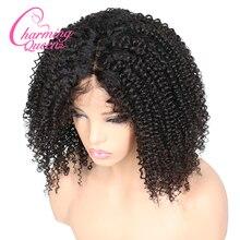 チャーミング女王シルクベースかつら完全なレース人間の髪は女性のため 150% アフロ変態カーリーブラジルの Remy 毛かつらで