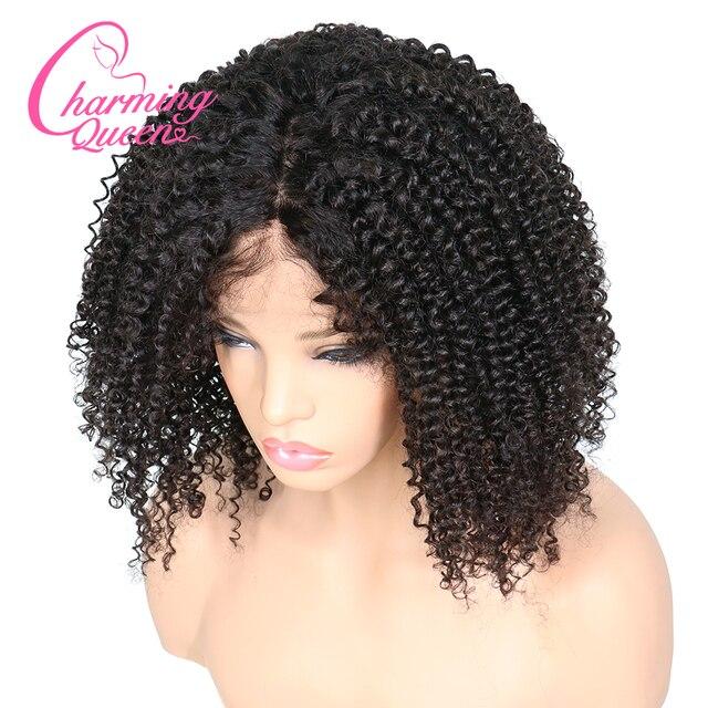 Charming Queen ผ้าไหมฐาน Wigs ลูกไม้เต็มรูปแบบผมมนุษย์ Wigs สำหรับผู้หญิง 150% Afro Kinky CURLY บราซิล Remy Wigs ผมผมเด็ก