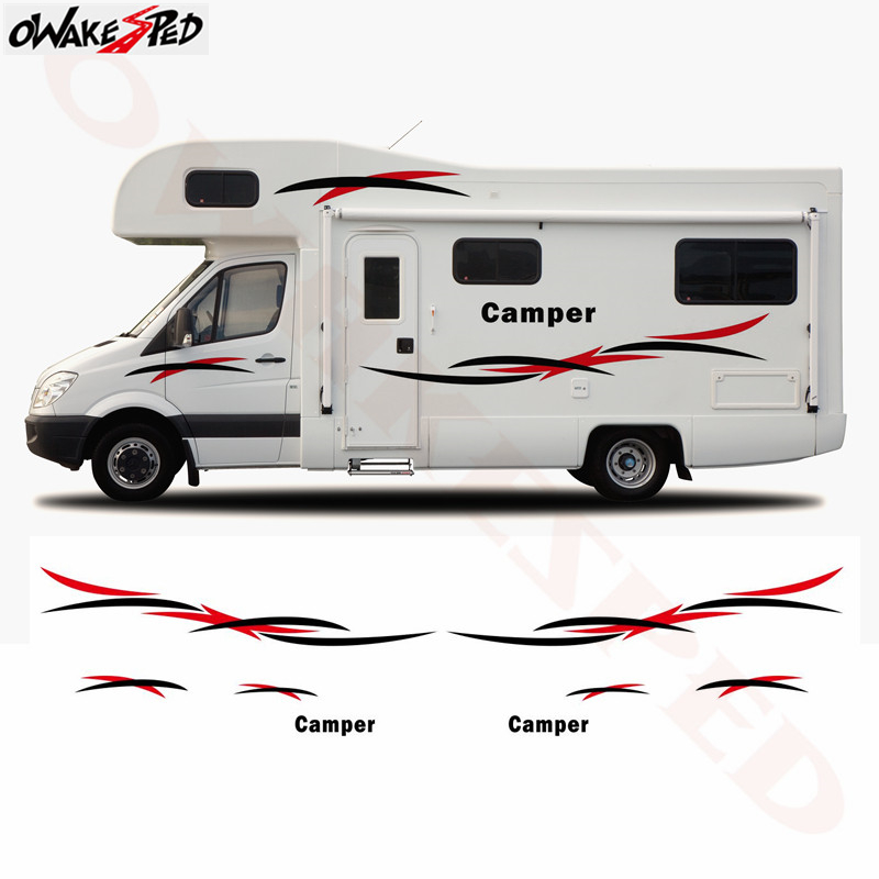 1set Motorhome Caravan Travel Trailer Camper Van Stripes Graphics Vinyl Kit Decals Car Stickers Auto Body Decor Decal Sticker