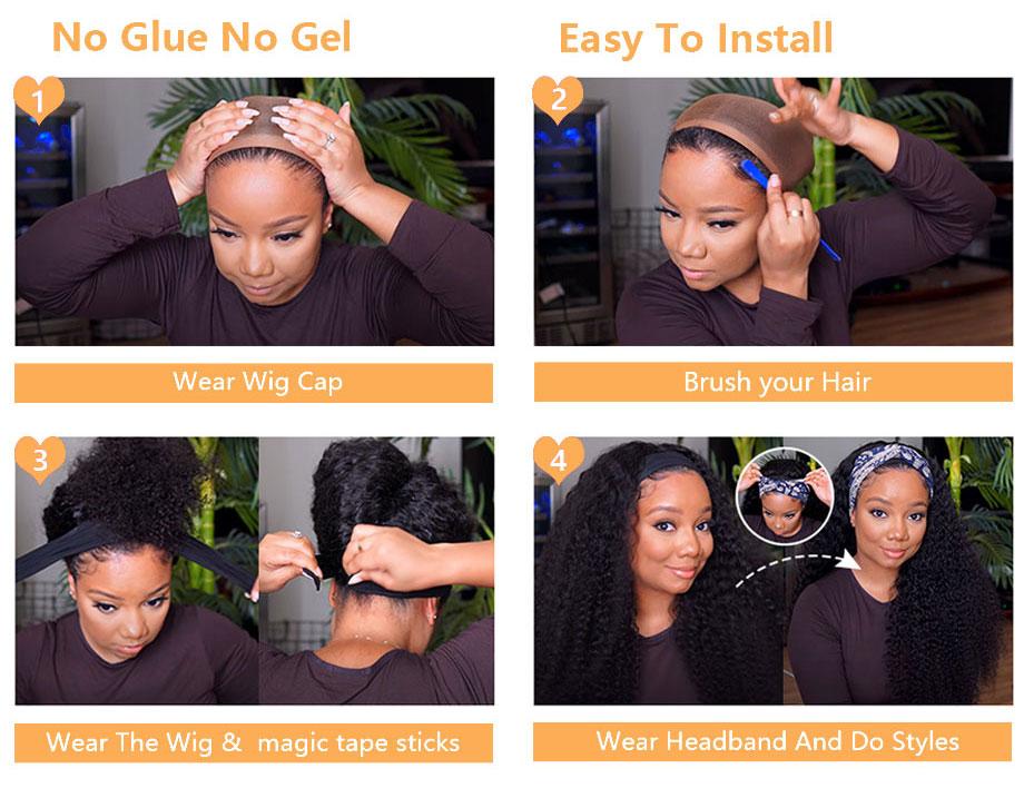 glueless bandana cachecol perucas para preto mulher máquina feita yarra