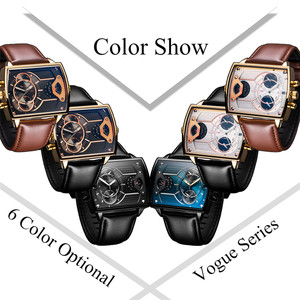 Image 4 - 6.11 Leather Mens Fashion Military watch Square Quartz Waterproof Sports Wrist Watches Genuine Leather Blue Casual Reloj Hombre