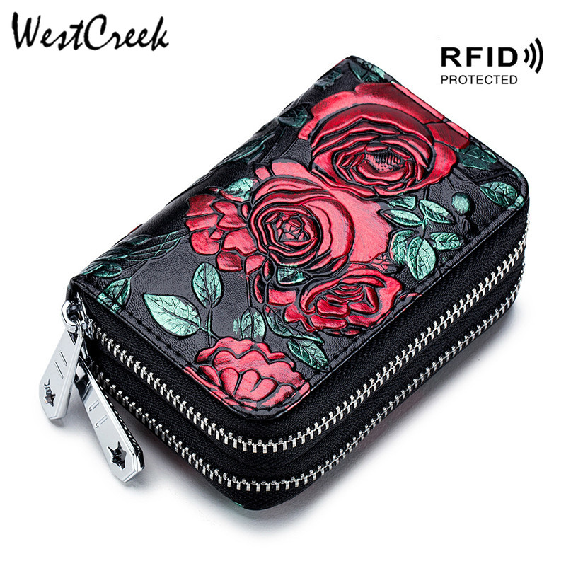 Business Card Holder Women ID/Credit Cards Rfid Protect Wallets Coin Purse High Quality Leather Double Zipper Printing Card Case