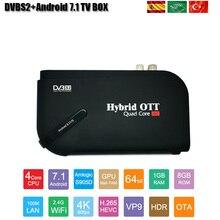 HD receptor de TV por satélite Android 7,1 caja de TV Combo Set Top BOX compatible con IPTV Amlogic S905D DDR 1GB Flash 8GB 4k DVBS2 TV Box