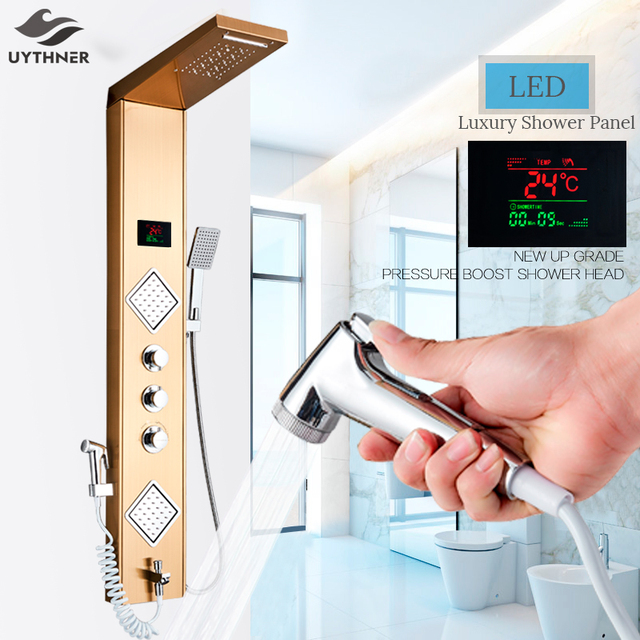Uythner torneira luxuosa de banheiro, torneira de chuveiro de ouro/preta com led painel de temperatura tela de tela