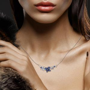 Image 5 - SANTUZZA כסף שרשרת לאישה אמיתי 925 כסף סטרלינג אלגנטי פרפרי שרשרת כחול לבן CZ המפלגה תכשיטים