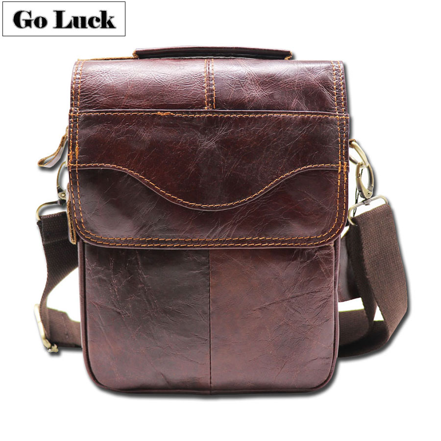 GO-LUCK Brand Hot Sale Genuine Leather Top-handle Handbag Men's Crossbody Shoulder Bag Men Messenger Bags Ipad Mini Pack