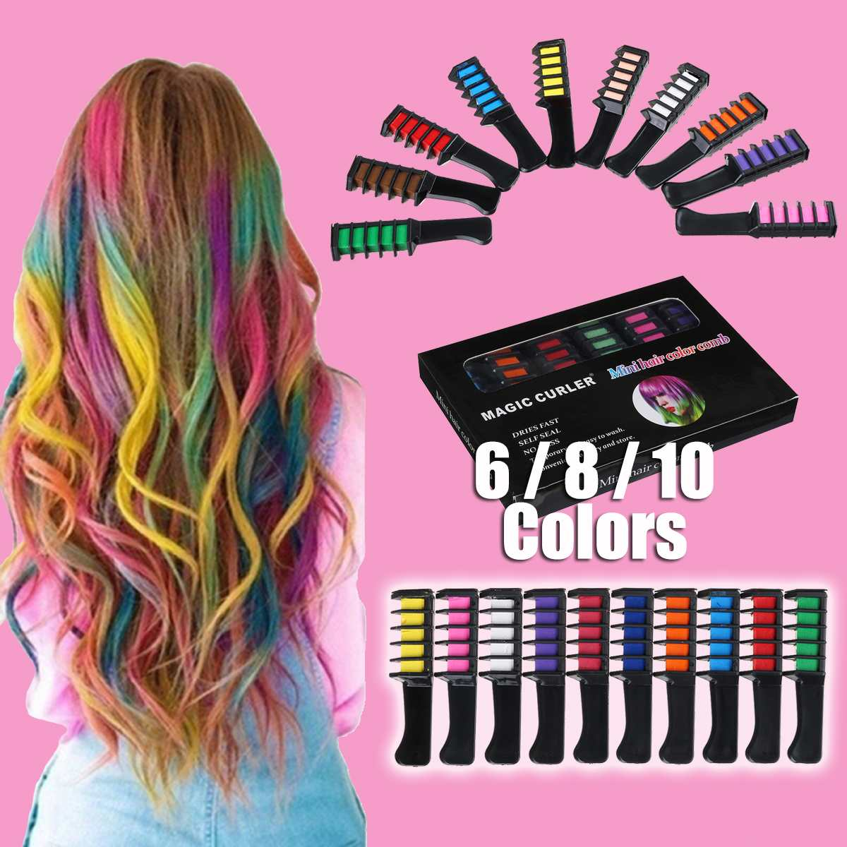 6/8/10 Color Set Temporary Hair Chalk Color Comb Dye Cosplay Washable Hair Color Comb for Party Makeup 1