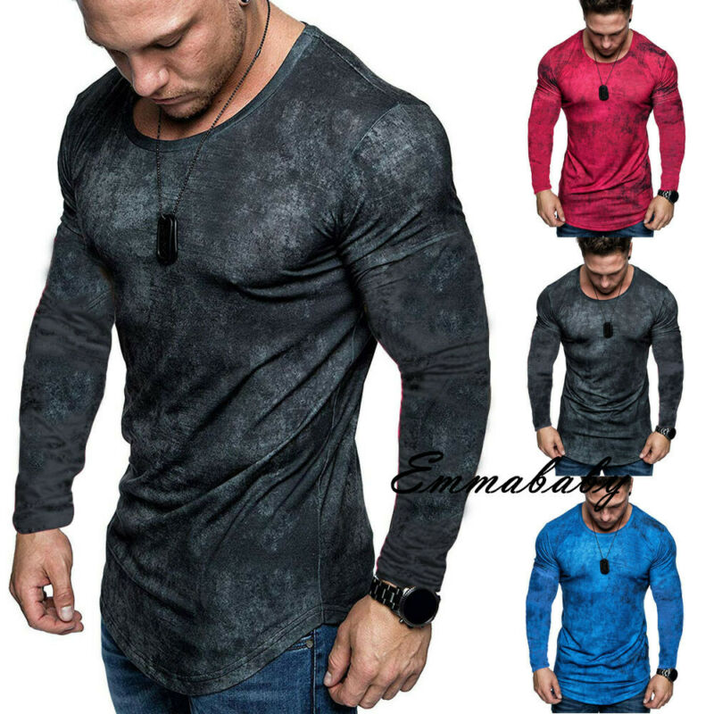 Mens Tie Dyeing Fitness  Shirts No Collar Irregular Long Sleeve Slim Fit  Muscle  Gym Autumn Bottoming Shirts Casual Tops
