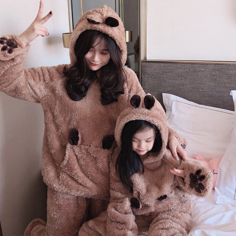 Mama Bear Baby Bear Shirts Family Look Mother And Daughter Coral Velvet Pajamas Winter Parent-child Suit Girl's Hoodies Homewear
