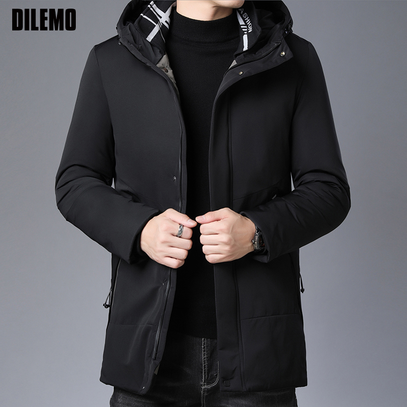 2019 Thick Winter Fashion Brand Jacket Mens Long Korean Hooded Parkas Quilted Jacket Puffer Bubble Coat  Mens Clothing