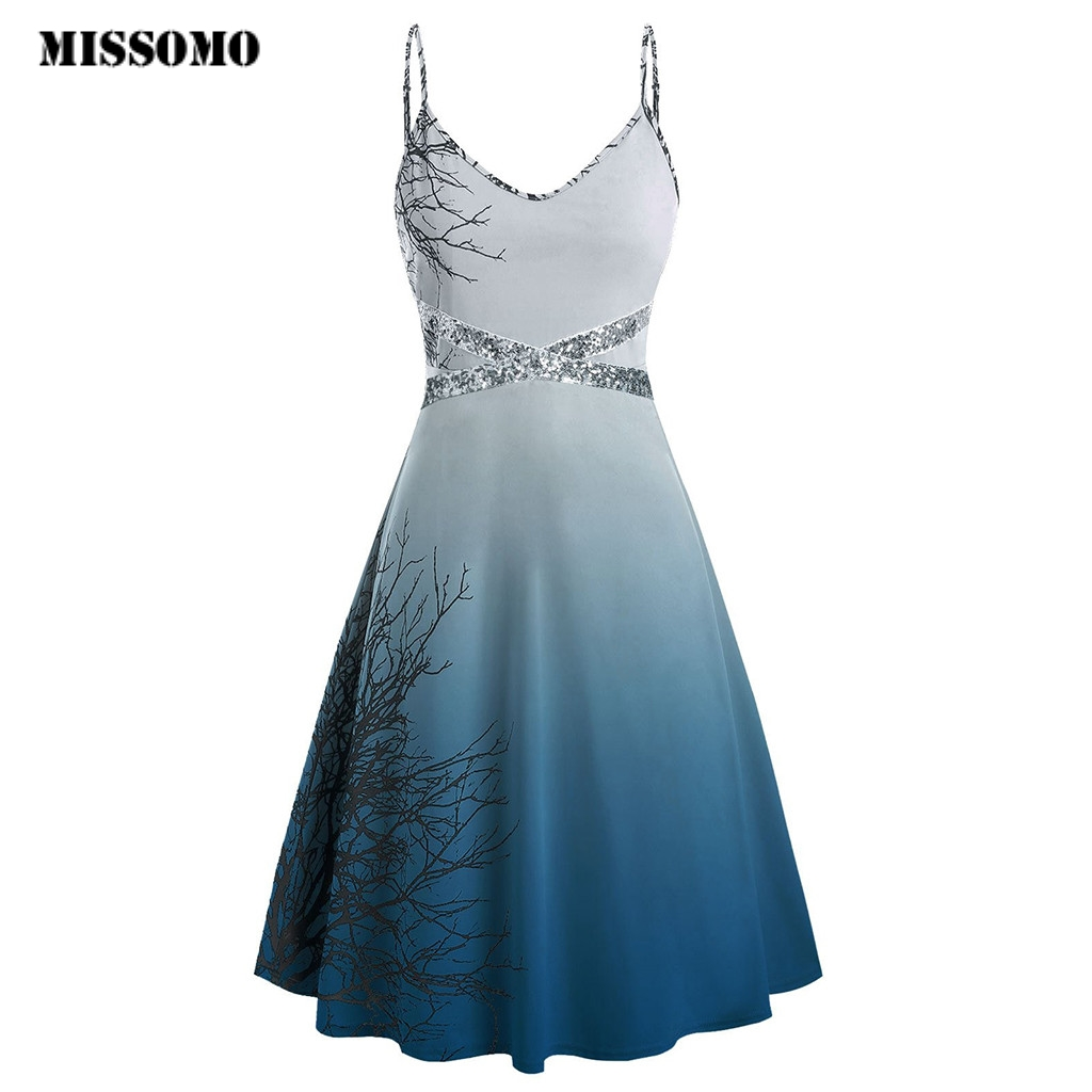 MISSOMO Plus Size Dress Women Dresses Halloween Sequins Print Sleeveless Camisole Mini Dresses Woman Party Night Vestidos 95