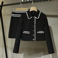 2020 Autumn Women's elegant black short coat jackets+A line skirts 2Piece set C262
