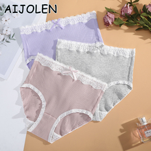 Ladies Underwear Panties G-String Lace-Trim Cute Thong Bowknot Cotton Pure-Color AIJOLEN