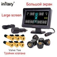 Chất lượng hàng đầu báo động xe kiểu dáng xe TPMS cho xe tải hỗ trợ 6 bánh xe áp suất lốp MÀN HÌNH LCD có hệ thống 6 Bên Ngoài cảm biến