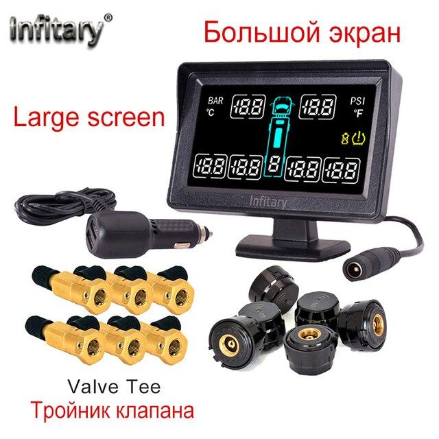 TOPคุณภาพรถใส่สไตล์รถTPMSสำหรับรถบรรทุก 6 ล้อยางความดันLCD Monitorระบบ 6 ภายนอกเซ็นเซอร์