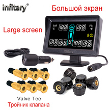 Top quality car alarm car styling TPMS for truck support 6 wheels tire pressure LCD monitor system with 6 External sensors