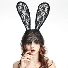 Halloween Lace Rabbit Ears Hair Accessories Gothic Headband Mask Holiday Ball Decoration Headdress Party