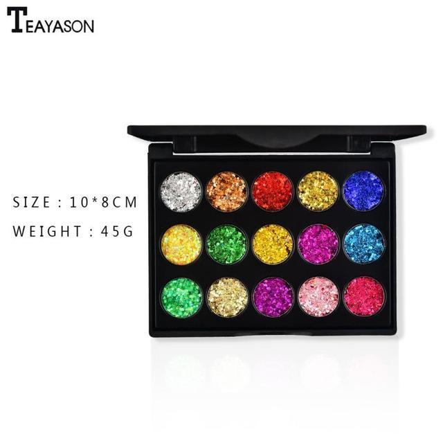 15 Color Diamond Sequins Lasting Eyeshadow Tray Glitter Powder Waterproof Eye Shadow Palette Stage Sequins Eye Makeup TSLM2 6