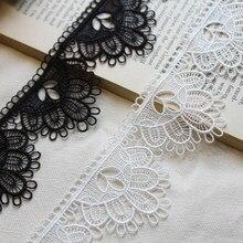 20 ярдов Ширина 5 см черный, белый цвет водорастворимые полиэстер кружевной отделкой Ткань ленты DIY платье одежда юбка Аксессуары для штор
