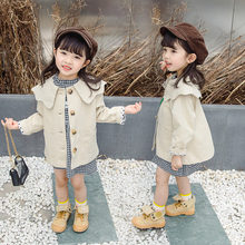 Korean Style Toddlet Girl Clothes Infant Trench Jacket for Girls Solid Color Long Trench Coat Kids Turn-down Collar Outerwear недорого