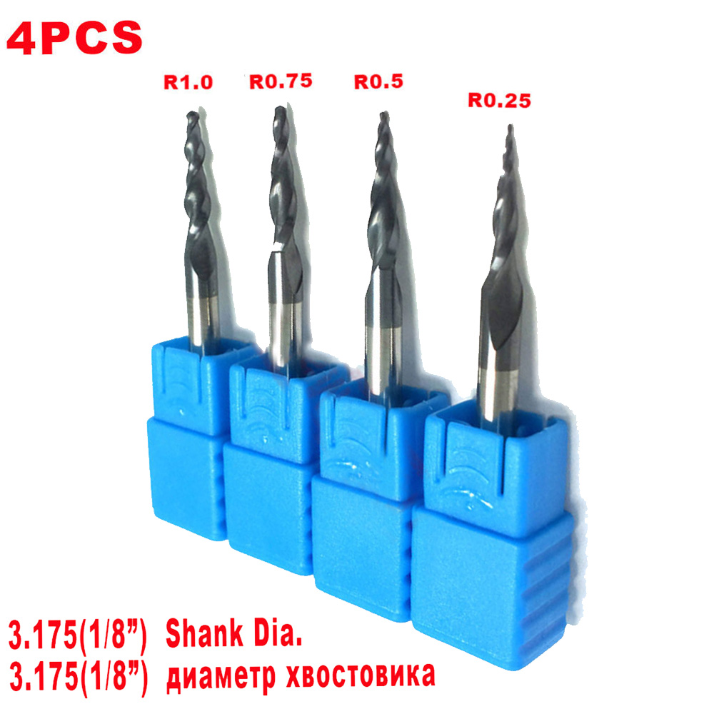 4pcs Carbide Tapered Ball Nose End Mill Milling Cutter 1/8 Shank HRC55 Set Kit