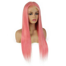 Ably Pink Wig 13x4 Lace Front Human Hair Wig Gloden Rose Pink Brazilian Straight Lace Front Wig Pre Plucked With Baby Hair Remy(China)