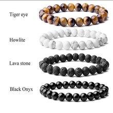 Браслет из бисера 8 мм бусы из натурального камня, мужские шикарный полудрагоценные с черным ониксом в лава тигровый глаз исцеление для мужч...