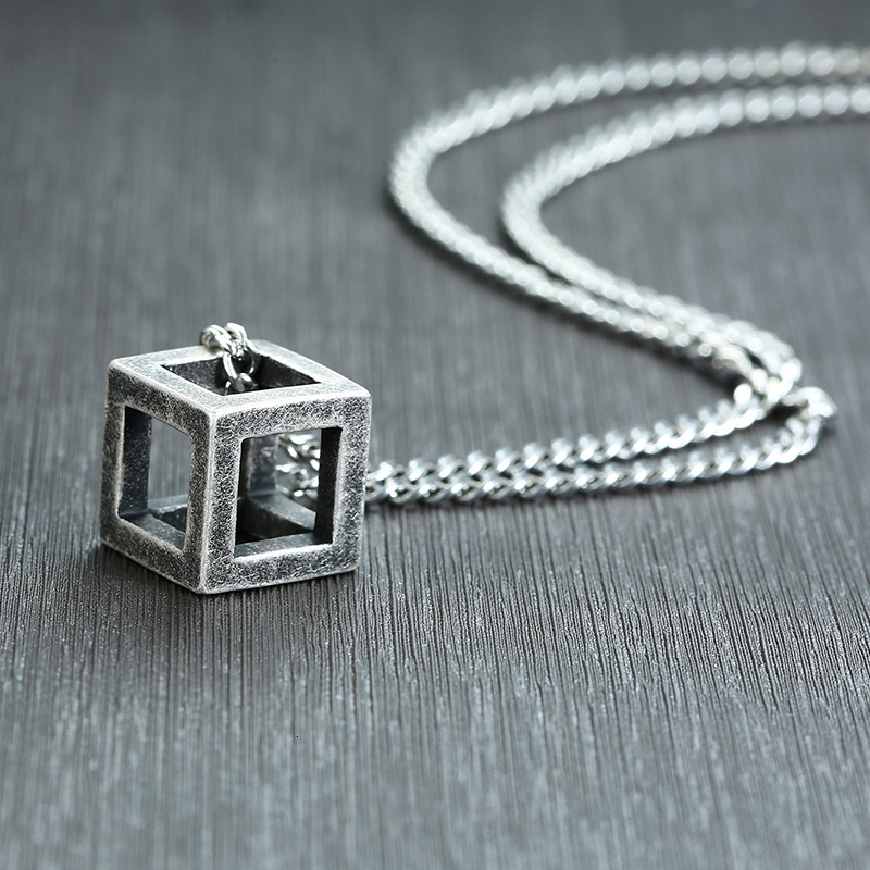 Vnox Retro Hollow Cube Pendant for Men Stainless Steel Square Vintage Necklace Punk Geometric Collier 24″ Chain