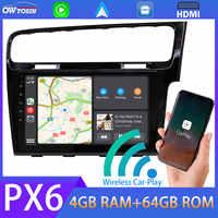 Radio Multimedia con GPS para coche, Radio con reproductor, Android 10, 9 pulgadas, PX6, 4 GB + 64 GB, navegador, Carplay, DSP, HDMI, para VW, Volkswagen Golf 7, MK7, 2003-2012