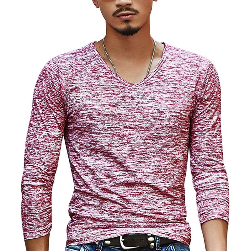 2020 Spring Men T-shirt Long Sleeve T Shirt Men Slim Basic Tops Tee Men Clothing Summer V Neck Top Tees Shirts Plus Size 3XL
