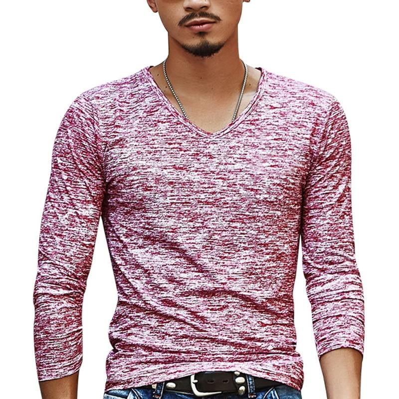 2020 Spring Men T-shirt Long Sleeve T Shirt Men Slim Basic Tops Tee Men Clothing Summer V Neck Top Tees Shirts Plus Size 3XL