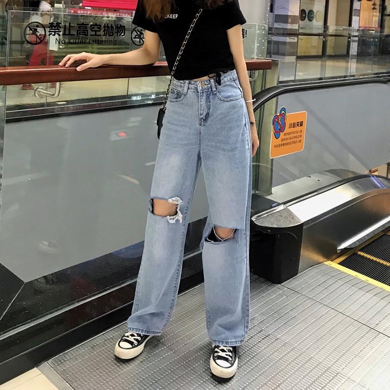 Women Jeans Ripped Hole High Waist Zipper Fly Button Straight Full-length Trousers Streetwear Basic Bottoms Blue Jeans