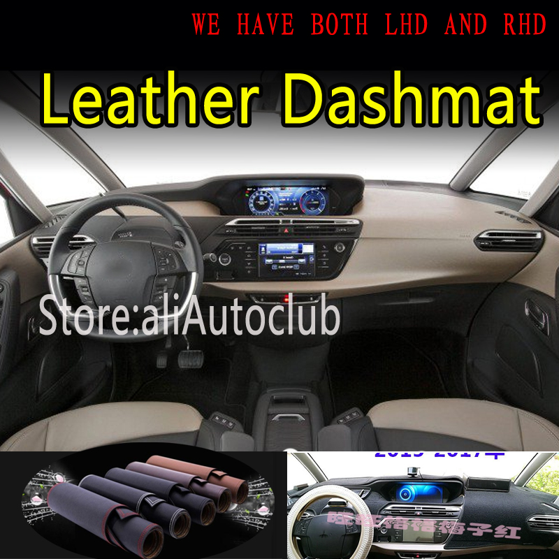 For Citroen Grand C4 PICASSO G2 2015 2020 Leather Dashmat Dashboard Cover Dash Mat Sunshade Carpet Car Styling Auto Accessories