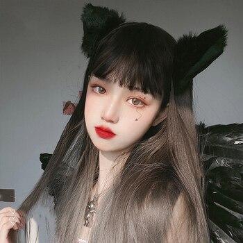 Peluca larga con flequillo Ombre marrón mezclado gris sintético Lolita peluca para mujeres de alta temperatura alambre resistente al calor Peluca de Cosplay