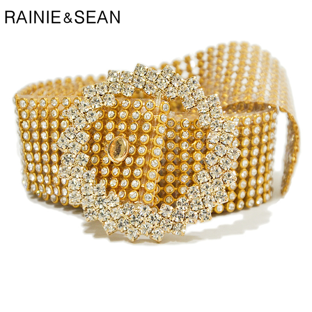 RAINIE SEAN Womens Rhinestone Belts Gold Silver Pvc Diamond Waist Belt Female Ceinture Ladies Belts For Dresses