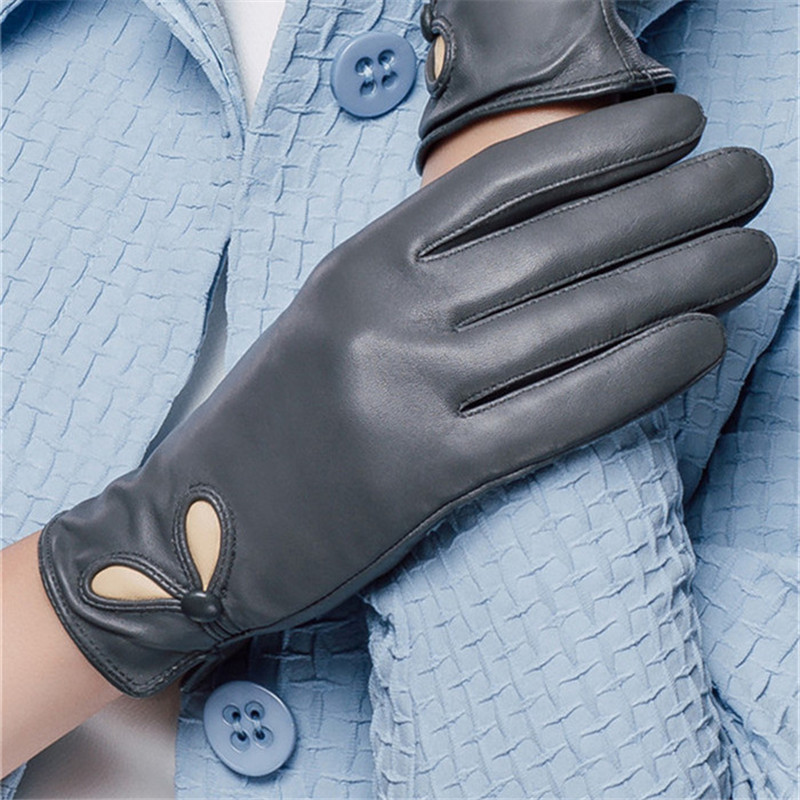 Genuine Leather Gloves For Women Real Sheepskin Touch Screen Gloves Winter Warm Driving Fashion Mittens New