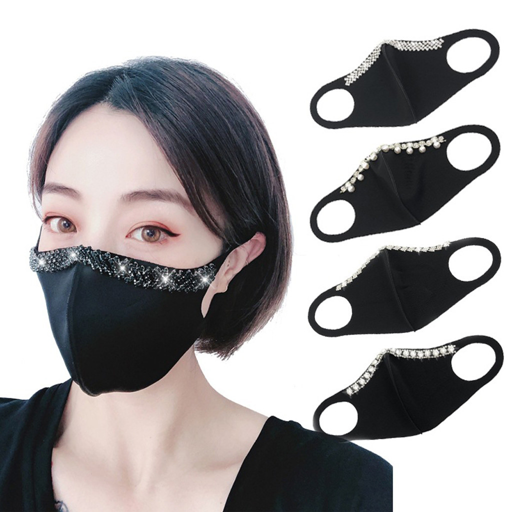 Fashion Crystal Mouth Mask Adult Solid Flash Anti-Dust Haze PM2.5 Face Mask Reusable Washable Sponge Mouth Face Cover Mascarilla