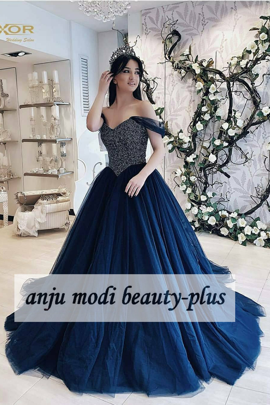2020 Long Off Shoulder Beaded Prom Dresses Sleeveless Ball Gown Formal Evening Party Dress Robe De Soiree