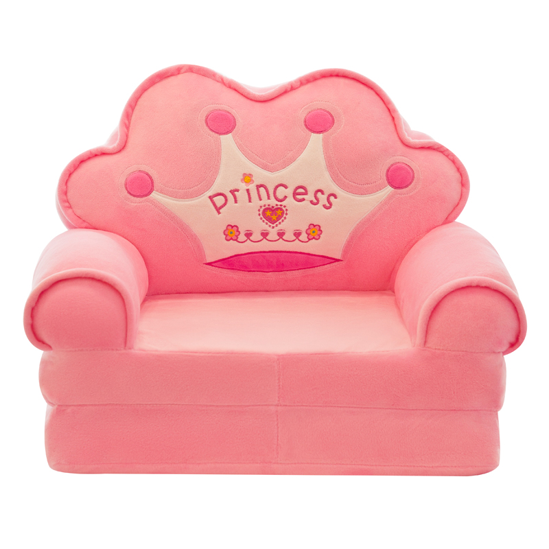 Crown Folding Lazy Sofa Bed Small Sofa Cartoon Princess Chair Washable Baby Single Sofa Chair Kid's Gift Free Shipping
