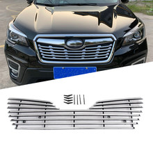 ABS Chrome Front Grille Cover For Subaru Forester SK 2019 Car Decorate Accessories Grille Cover Mesh Trim(China)