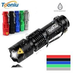 Dz20 colorido à prova ddzágua led lanterna de alta potência mini lâmpada ponto 3 modelos zoomable equipamento acampamento tocha flash luz
