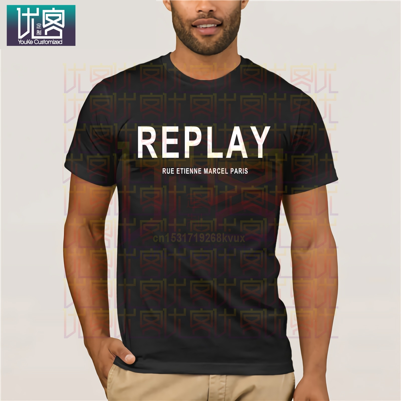 Song REPLAY- RUE ETIENNE MARCEL PARIS T-SHIRT Clothes Popular T-Shirt Crewneck Cotton Tees Tops Summer Tees Cotton T-Shirt