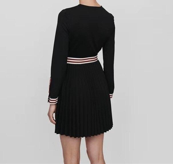 خليط اللباس النساء واحدة الصدر طويلة الأكمام يا الرقبة أزرار البسيطة اللباس الخريف-في فساتين من ملابس نسائية على  مجموعة 3