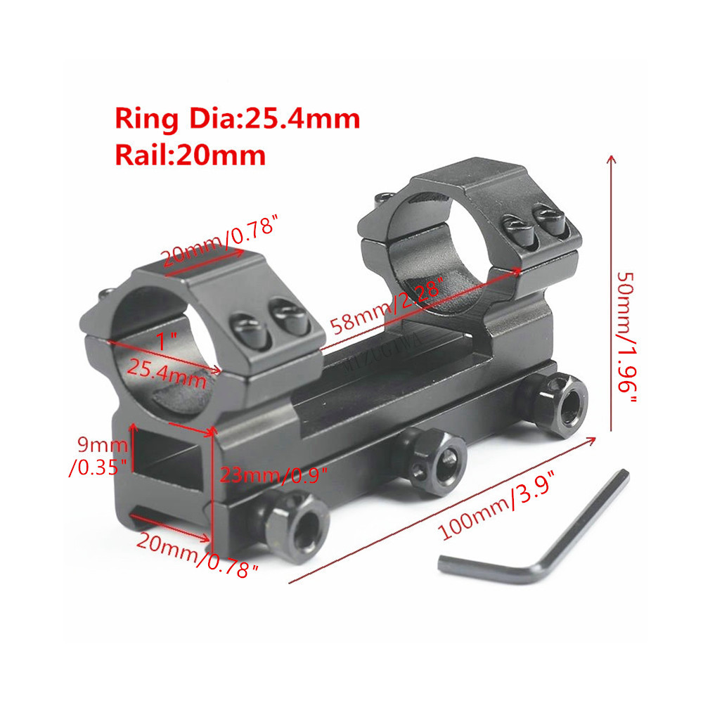 MIZUGIWA Heavy Duty Scope Mount One Piece Flat Top 25.4mm Dual Rings Rifle Picatiiny Dovetail Adapter 20mm Weaver Rail