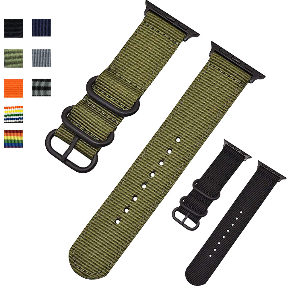 for Apple Watch Band Nylon Fabric 4 3 Straps Bands Military Army Green iWatch  Sport Straps Bands 42mm 44 mm 38mm 40mm|Ремешки для часов|   | АлиЭкспресс